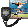 Waterproof Digital LCD Stopwatch Chronograph Timer Hour Meter Counter Sports Alarm Stopwatch with Strap