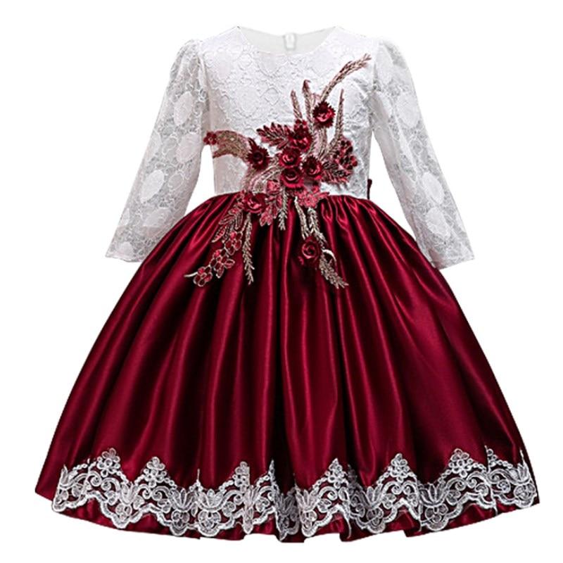 Lace Flower Girls Dresses for Wedding Party Elegent Baby Girls Princess Dress Children New Year Vestidos