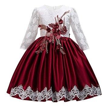 24aff09d8 Vestidos de encaje de flores para Niñas para fiesta de boda elegante bebé  niñas vestido de princesa niños Vestidos de Año Nuevo
