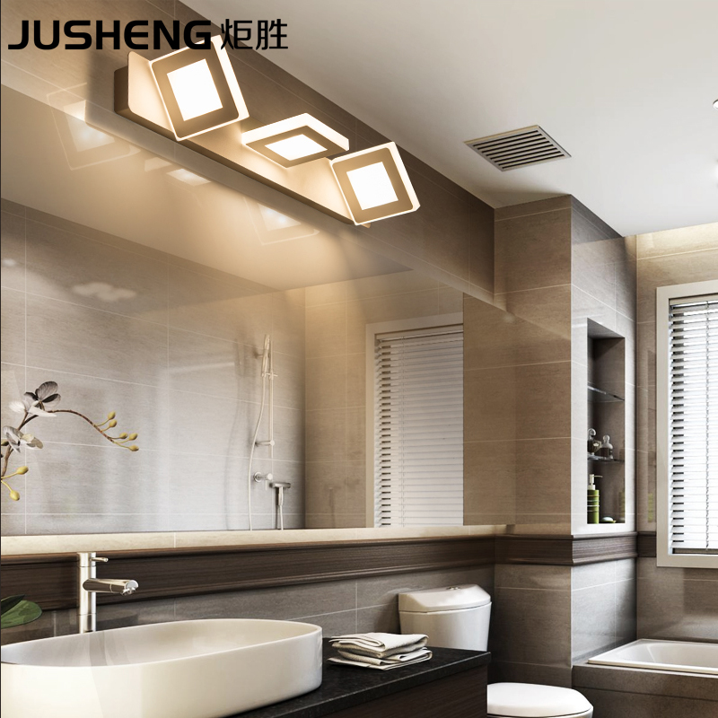 JUSHENG Indoor 9W Square Led Wall Lamps in Bathroom Wall Lighting Fixtures3-lights 48cm AC220V/110V Home Deco led Lamps avengers alliance hot toys led captain america shield wall lamps 3d poster wall lamps home