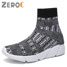 ZeroC Fashion Women Men Knit Upper Breathable Sport Shoes Casual Sock Boots Woman Chunky High Top Cool For