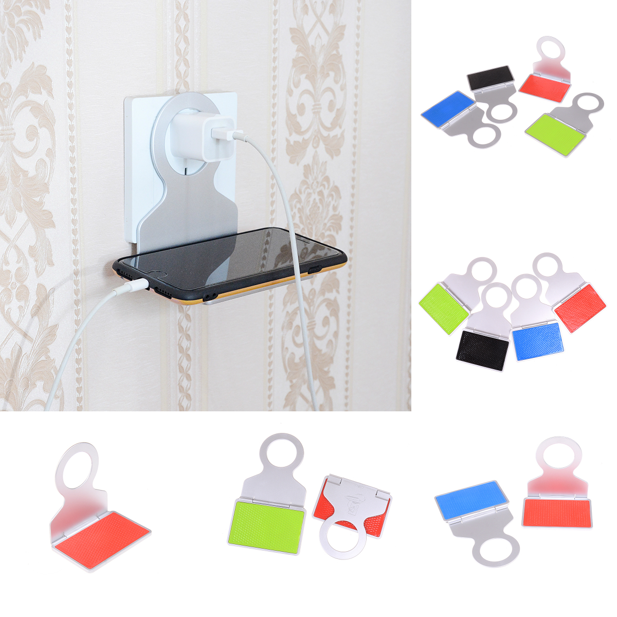Folding Mobile Phone Wall Charger Adapter Charging Holder Hanging Support Charge Hanger Rack Shelf Cell Phone Hook Stand Bracket