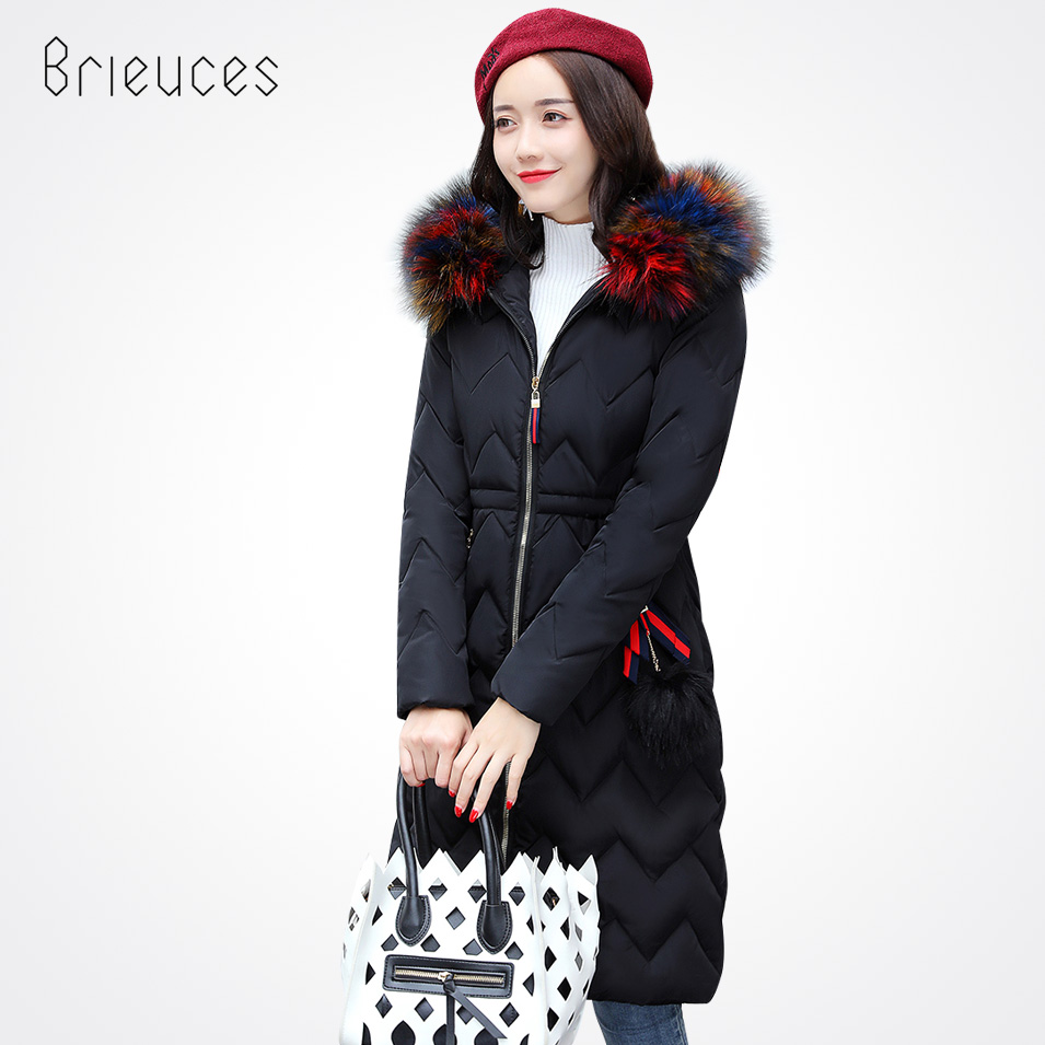 Brieuces New Warm Long Winter Women Jacket Hooded Cotton-Padded Parkas Wadded Down Cotton Basic Coat Casacos Feminino pinky is black new warm long winter women jacket hooded cotton padded parkas wadded down cotton basic coat casacos feminino
