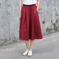 Yichaoyiliang Chinese Style Ethnic Embroidery Pocket Skirt High Waist Vintage Hyacinth Printing Skirt Cotton Linen Full Skirt