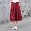 Yichaoyiliang jacinto chinês estilo étnico bordado bolso da saia de cintura alta vintage saia de algodão de linho saia cheia de impressão