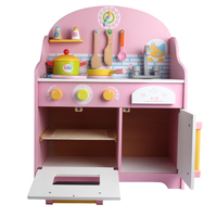 2017 New Arrival Simulation Pink Kitchen Toys Large Size Child Educational Food Wooden Toys Play House Christmas/Birthday Gift