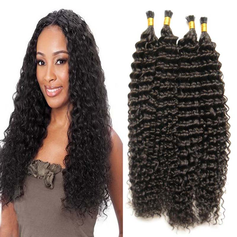 Afro Kinky Curly Fusion Hair Extensions 1gs Curly Keratin I Tip