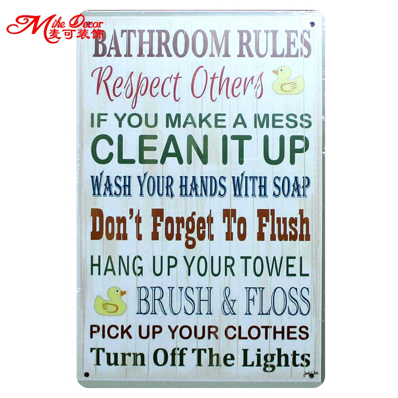 Mike86   BATHROOM RULES Quote Metal Sign Retro C. Online Get Cheap Bathroom Plaques  Aliexpress com   Alibaba Group