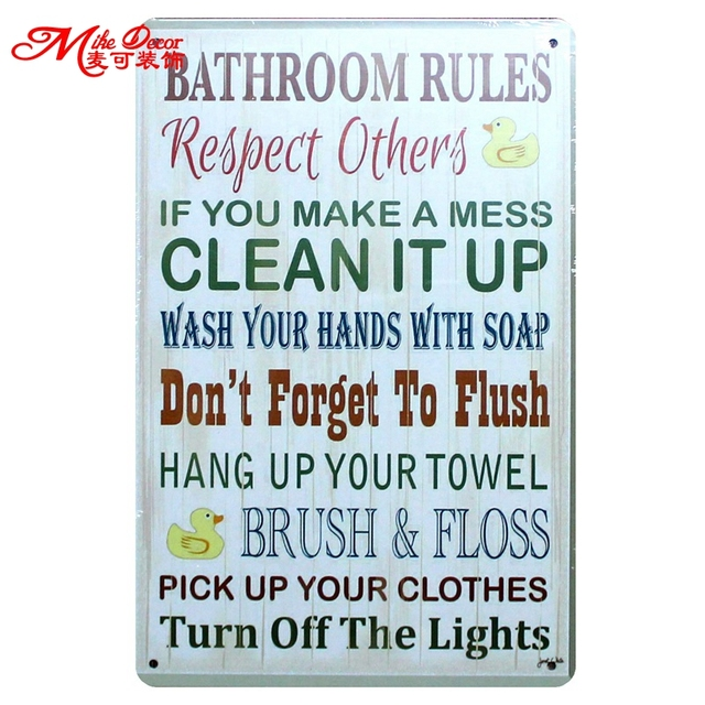 Mike86 BATHROOM RULES Quote Metal Sign Retro Craft Vintage Poster Wall Painting Plaque Decor