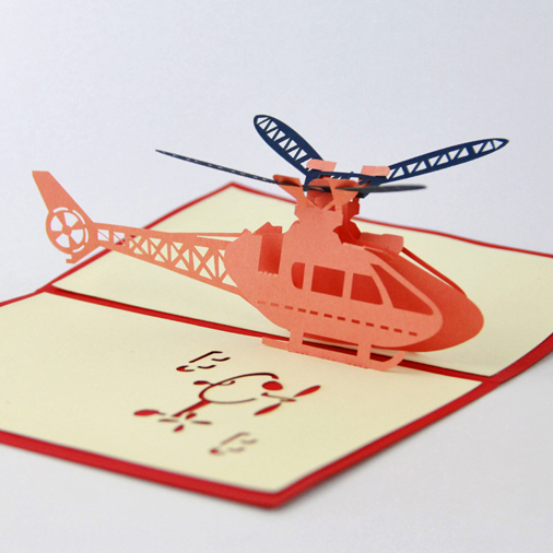 Super Helicopter aircraft pop up card /3D kirigami card/ handmade  RK98