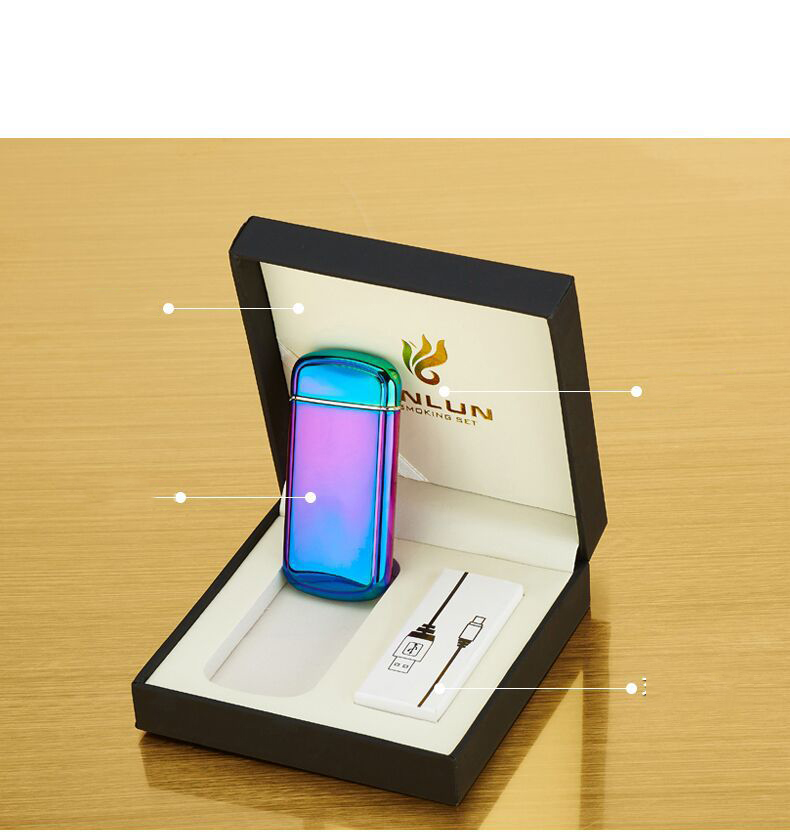 10 шт./лот оптовая продажа электронных сигарет легче ветрозащитный Металл импульсный с USB Перезаряжаемые Непламено электрическая дуга прику...