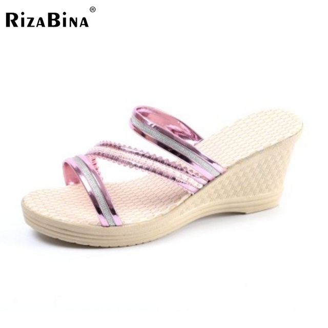ef9888244cb RizaBina Women s Wedge Sandals Striped Platform Shoes Women Wedges Sandal  Beach Vacation Female Footwears Size 35-40