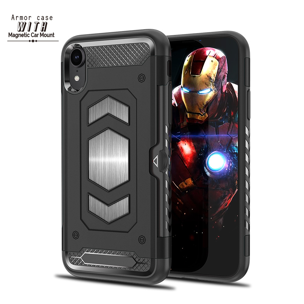buy online 14559 ee7c6 US $3.59 9% OFF|Armor Case for Iphone XS MAX For Iphone XR Magnetic Car  Mount Heavy Duty Shock Absorption Cover for Iphone X XS 6.1 2018 Case-in ...