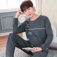 WAVMIT Men Pajama Sets Spring Autumn Winter Plus Size 100 Cotton Long Sleeve Male Sleepwear 3XL