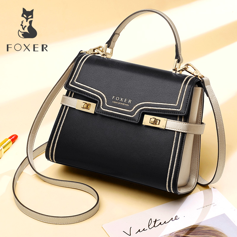 FOXER Brand Female luxury Stylish Shoulder Bags Gentlewoman Large Capacity Leather Messenger Bags Lady Valentine s
