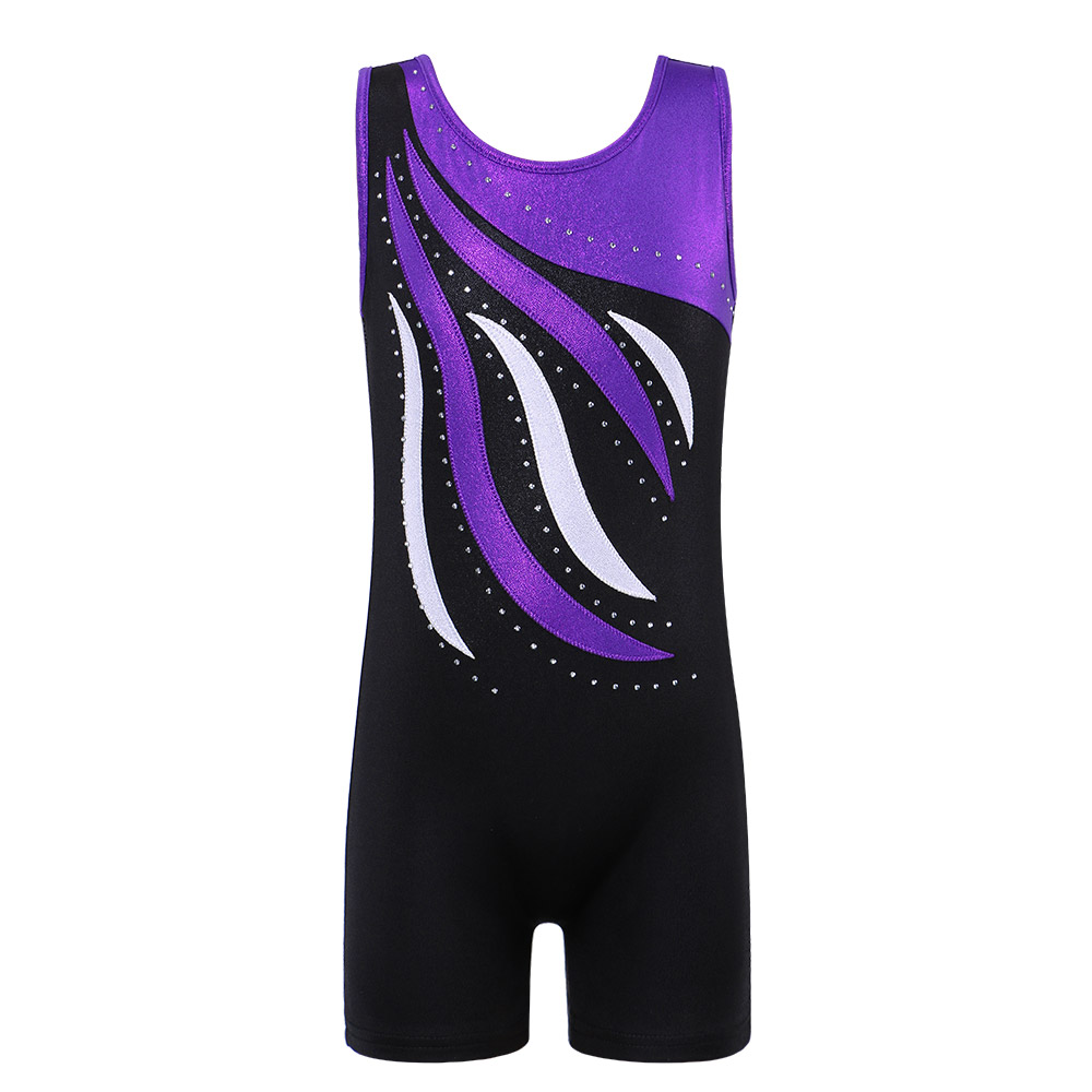 BAOHULU Youth Sleeveless Sparkle Gymnastics Leotard For Girls Gymnastic Unitards Kids Children Ballet Dance Costume Biketard
