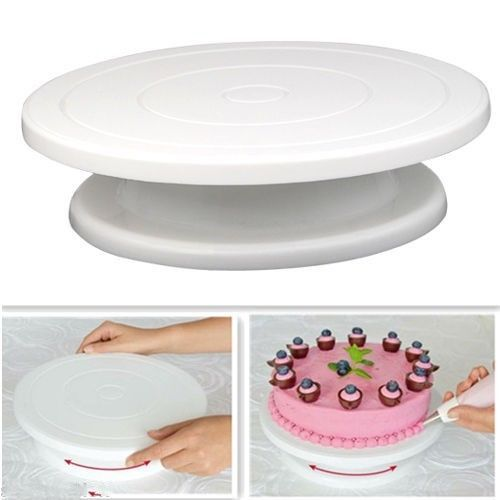 DIY Cake Decorating Baking <font><b>Tool</b></font> Icing Rotating Turntable Cake Stand White Plastic Fondant Display
