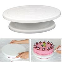 DIY Cake Decorating Baking Tool Icing Rotating Turntable Cake Stand White Plastic Fondant Display