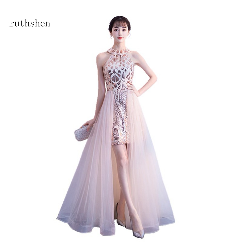 ruthshen Sexy Sleeveless   Prom     Dresses   High Low Floor Length Short Cocktail Party   Dress   With Sequins Vestido De Festa Curto 2018
