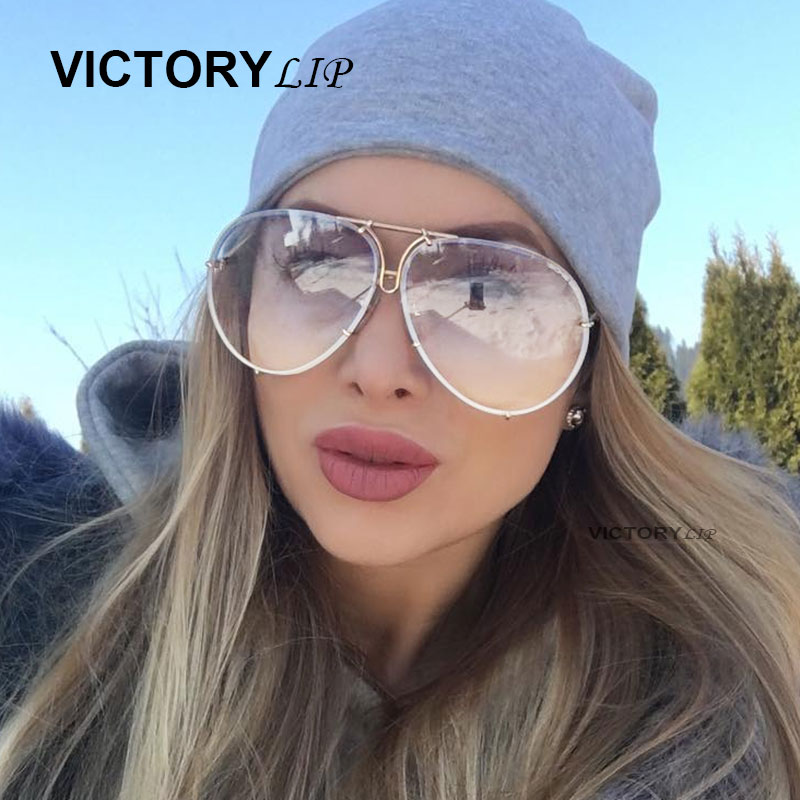 VictoryLip Oversized Pilot Sunglasses Men Women Brand Designer Shades Sun Glasses UV400 Male Female Transparent Steampunk