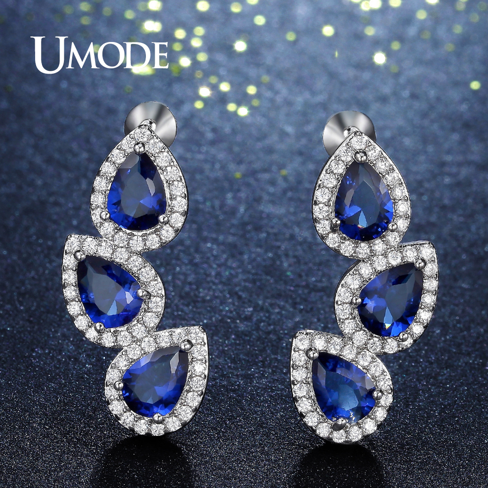 UMODE Design Water Drop Shape Blue CZ Crystal Drop Earrings for Women Fashion Jewelry Leaves Pendientes Mujer Moda Gift UE0304A pair of graceful faux crystal rhinestoned water drop earrings for women