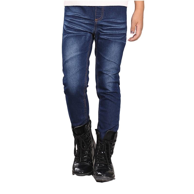 Sonbahar/Kış Moda Nedensel çocuklar Kot Uzun Pantolon bebek erkek Kız Çocuk kot pantolon Koyu Mavi Için 6-14 T