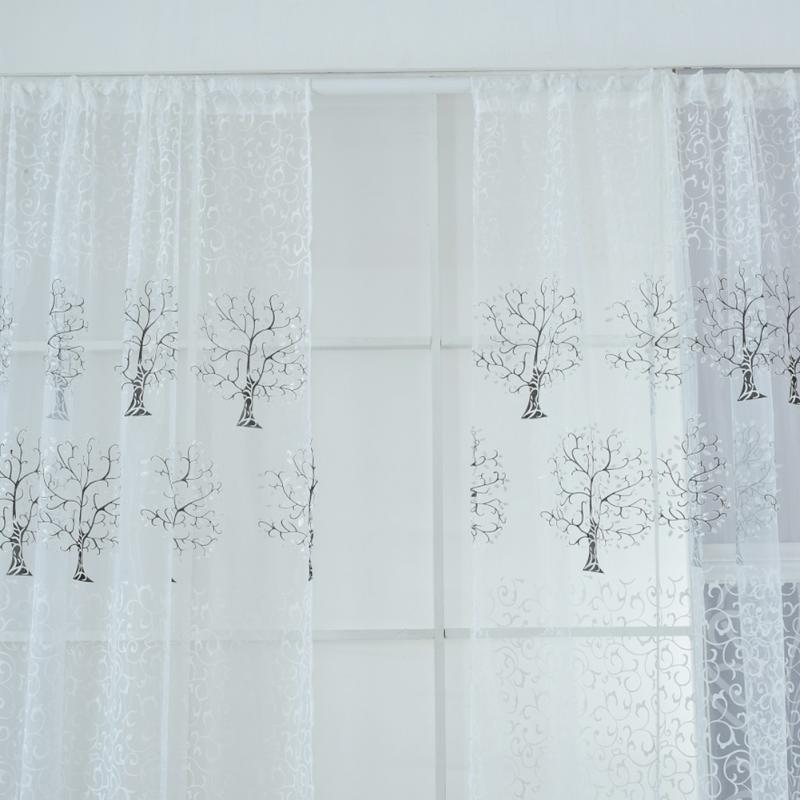 Modern pachira offset curtain printing window tulle door curtain panel