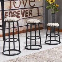Твердый деревянный Американский барный стул высокие табуретки Кованое железо стул Ретро Барный Стул высокий стул льняная Подушка мобильны
