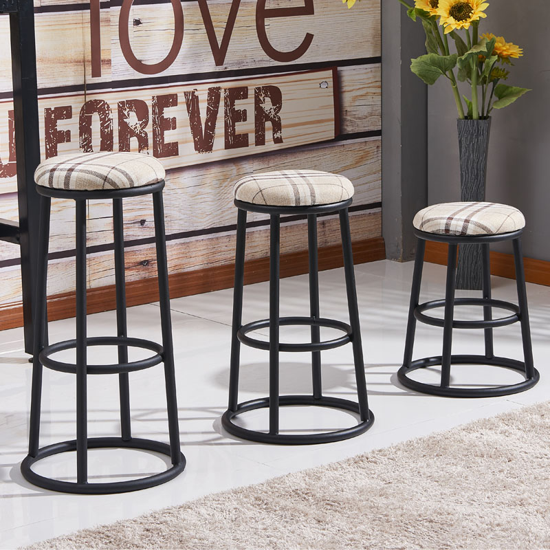 Solid Wood American Bar Stools High Stools Wrought Iron Bar Chair Retro Bar Chair High Chair Linen Cushion Mobile Phone Shop Bar