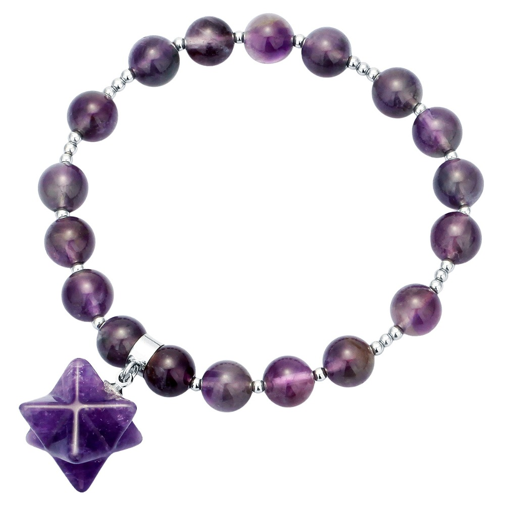 SUNYIK 8mm Stones Beads Healing Crystal Stretch Bracelet with Merkaba Star Charm 7 quot Unisex in Strand Bracelets from Jewelry amp Accessories