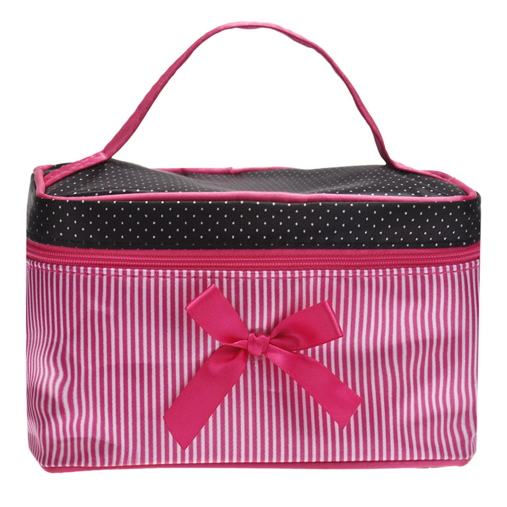 Blusas 2017 Fashion Bow Stripe Women Bag Portable Zipper Storage Cosmetic Bags Women Wash Toiletry Bag Beauty Case Pouch spark storage bag portable carrying case storage box for spark drone accessories can put remote control battery and other parts