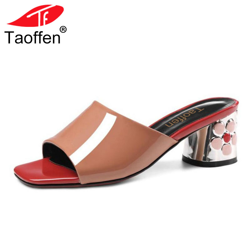 TAOFFEN Size 34-43 Fashion Women Real Genuine Leather High Heel Sandals Flower Open Toe Gold Heel Sandals Summer Club Shoes coolcept size 33 43 women real leather high heel sandals open toe ankle strap rivets summer shoes woman party club sandal