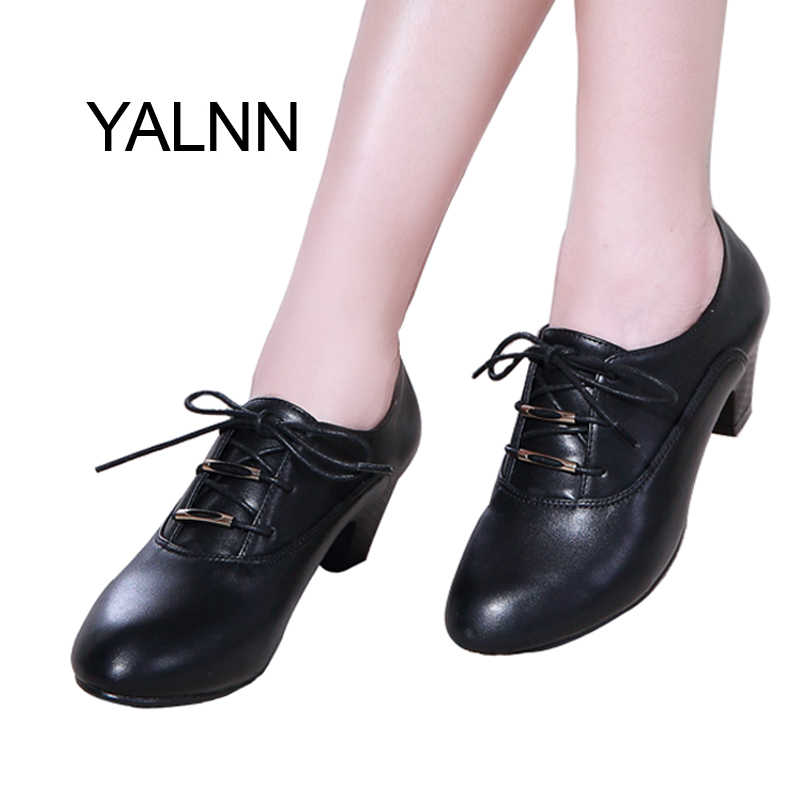 YALNN Women Leather 5cm Med High Heel Pumps Shoes Lace-up Dress soft leather Mature Dress Pointed Toe Women Pumps genuine leather shoes women med heel soft leather shoes comfortable pumps sy 2411