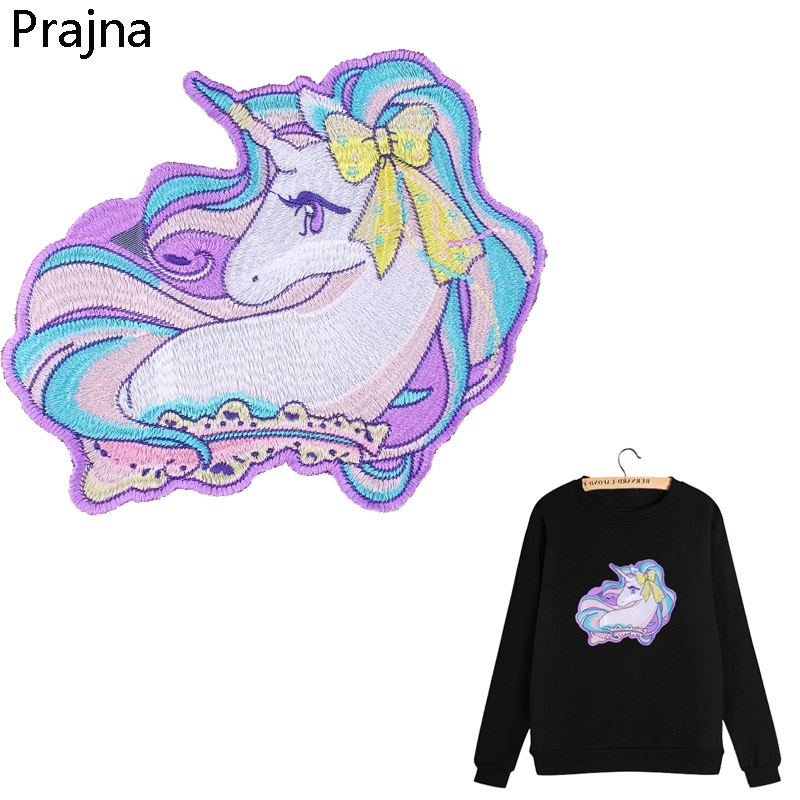 Prajna Glueless Large Horse Unicorn Patch Sew On Patches Applique Cartoon Cute Kawaii Anime Embroidered Patches For Clothes