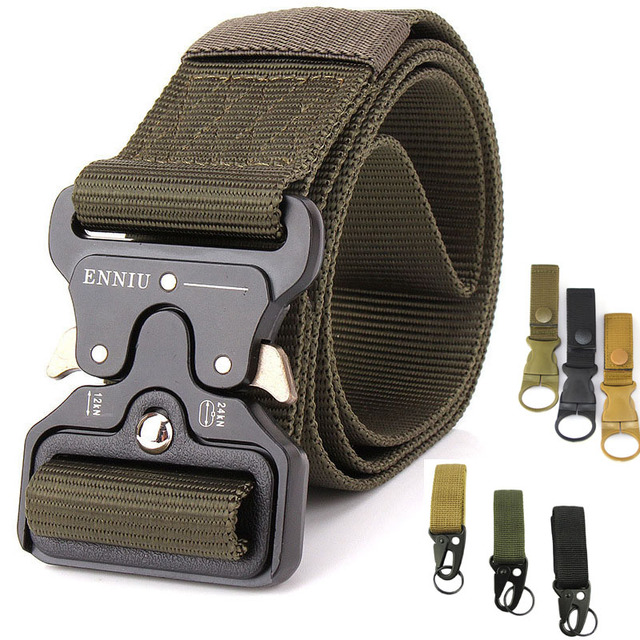 Military Nylon Belt Tactical Belt US Army Belt Men Waist Strap Belt Metal Buckle Outdoor Hunting Accessories 125 135CM