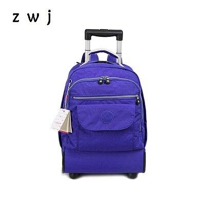 18 inch nylon waterproof school bag luggage with wheels travel trolley backpack