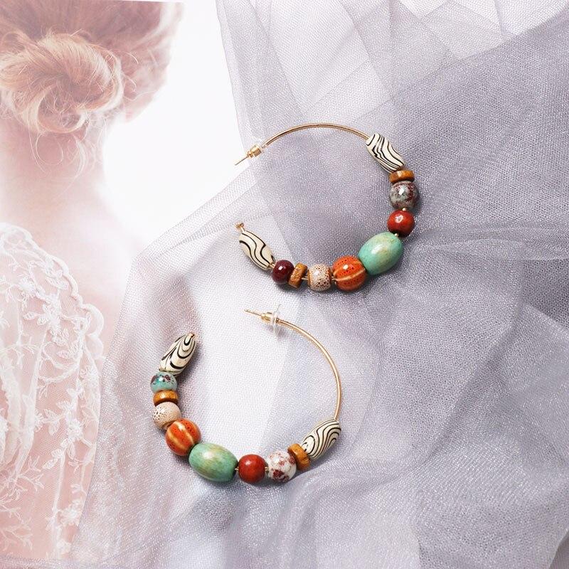 Alloy Ring Wood Beads Boho Hanging Drops Earring Vintage Ethnic Natural Stone Dangle Earrings Women Jewelry Fashion Earrings