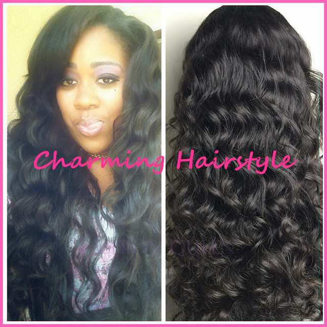 Cheap long black wavy hair synthetic lace front wig beyonce wigs with baby  hair for african americans black women free shipping af7e15113