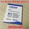 Nuevas llegadas bm45 uso de la batería de alta capacidad de 3650 mah para xiaomi hongmi note 2 arroz rojo redmi note 2 batería bateria
