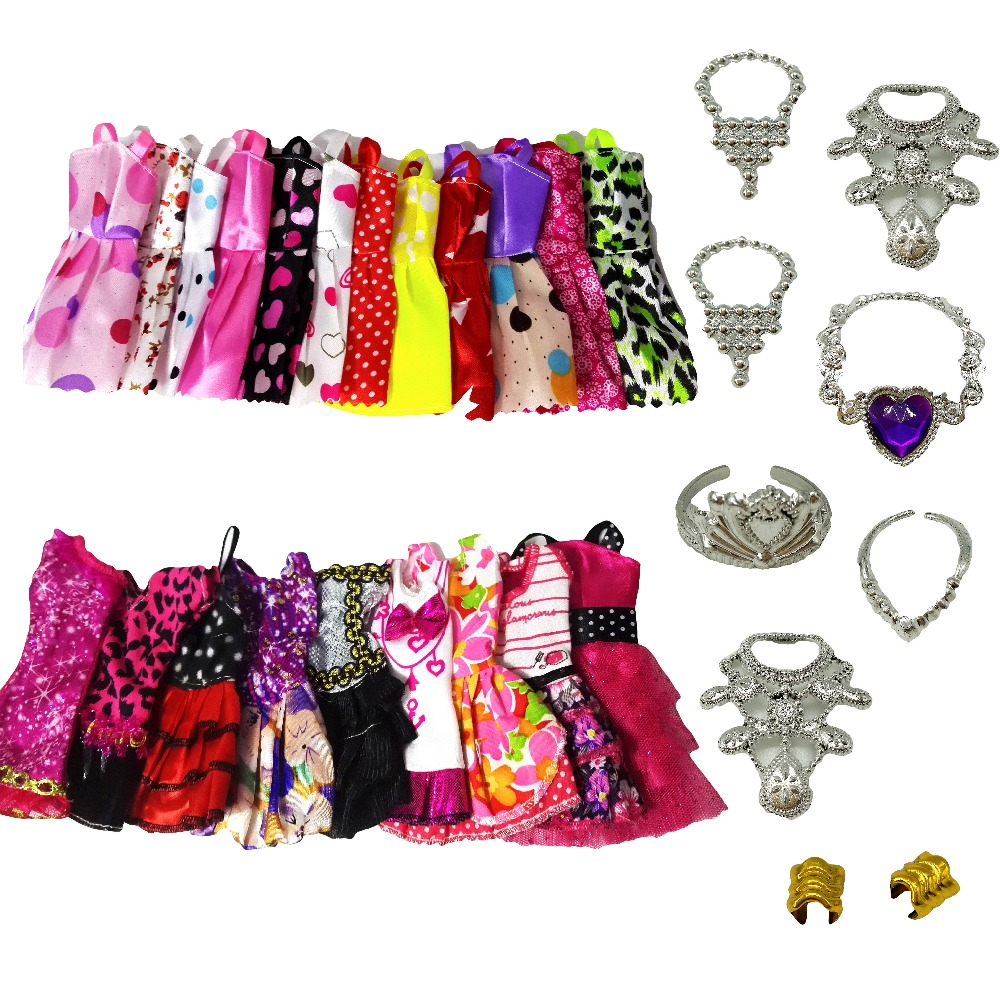 23Pcs 10Handmade Doll Clothes Short Skirt 5Fashion Mixed style Dress 8necklace Dollhouse Accessories For Barbie Doll