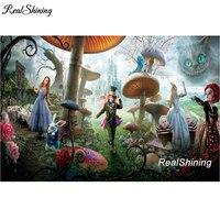 REALSHINING Alice Wonderland BRICOLAJE Diamante punto de Cruz Pintura Plaza Llena de Diamantes Bordado de Diamantes 5D Mosaico Costura DM840