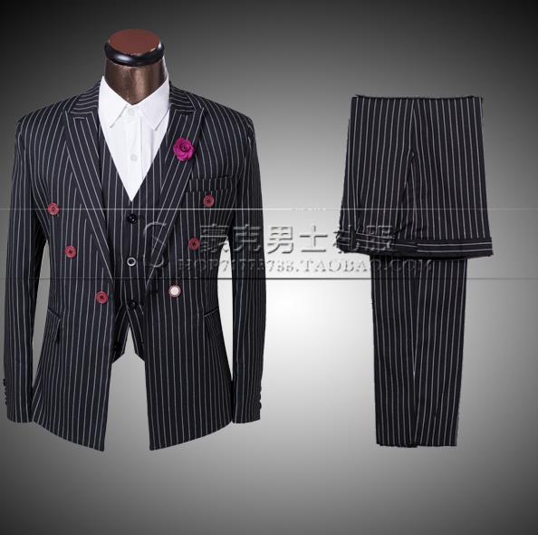 Мужской костюм в полоску, черный костюм со штанами, формальное платье жениха, Свадебный костюм + штаны + галстук, новинка 2019
