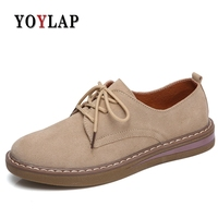 Yoylap 2018 New Women Flat Shoes Round Toe Lace Up Oxford Shoes Woman Genuine Leather Brogue Women Shoes