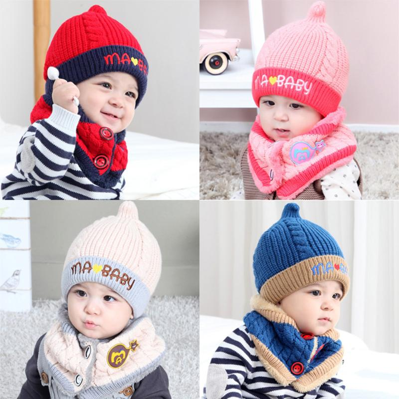 Winter Baby Kids Girls Caps Scarf Warm Wool Knitted Cute Owl Baby Hat+Beanie Scarf 2pcs Winter Kids Warm Hat Scarf Set