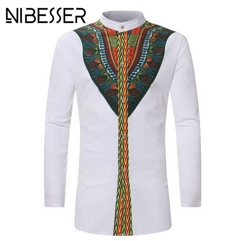 NIBESSER Vintage 2018 Men Ethnic Print Top Tees Long Sleeve Stand Collar African Print Dashiki hirt Hip Hop White Men Clothing