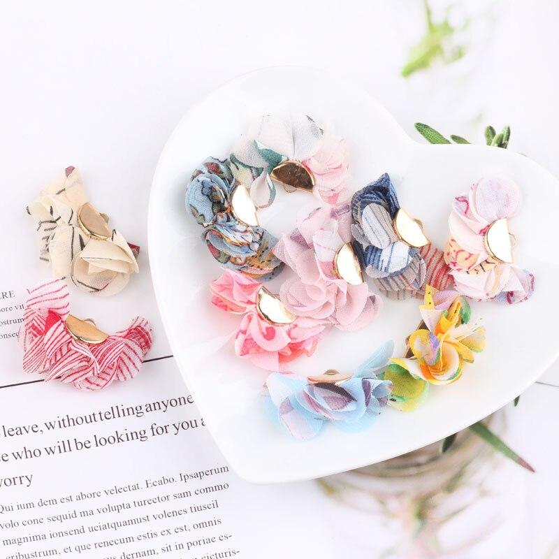 PURPLEGRAPE DIY earrings material pendant homemade earrings headwear accessories pendant multicolor chiffon flower tassel 10pcs in Jewelry Findings Components from Jewelry Accessories