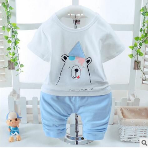 Children Clothing Set Boys Summer Short Sleeve Cotton Pants+Shirt Sport Set Cute Bear Kids 2 Pieces Suits Baby Clothes Sets