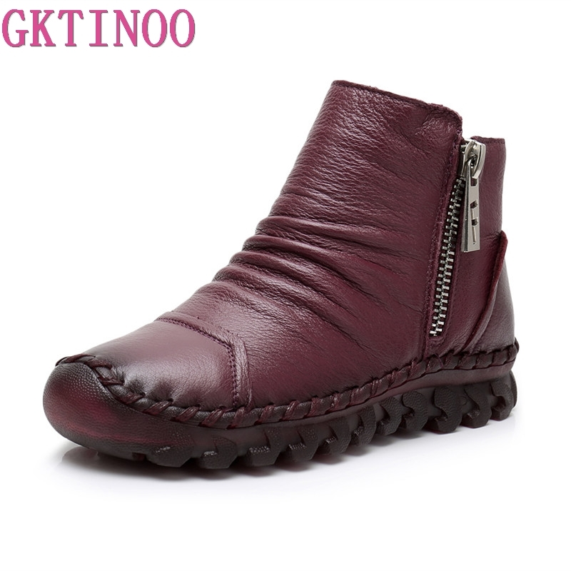 все цены на GKTINOO 2018 Fashion Handmade Boots For Women Genuine Leather Ankle Shoes Vintage Women Shoes Round Toes Martin Boots онлайн