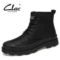 Clax الرجال أزياء الربيع الخريف عارضة الأحذية والجلود التمهيد عالية كبار رجال الشتاء أفخم الفراء الدافئة أحذية سلامة العمل الأحذية