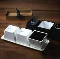 3ชิ้นสร้างสรรค์กาแฟ/ชาถ้วยตั้งแฟชั่นแป้นพิมพ์ถ้วยรวมถึงc trl